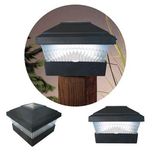 new 2 x black solar powered led outdoor garden post deck. Black Bedroom Furniture Sets. Home Design Ideas