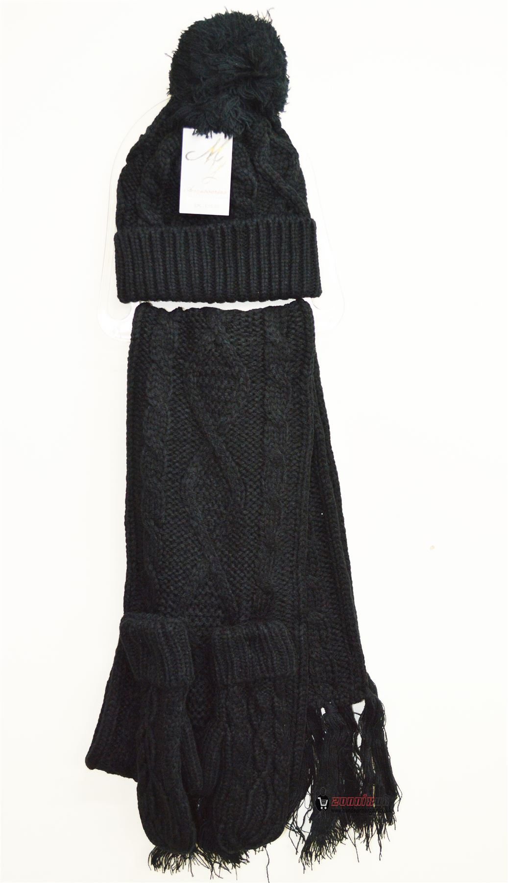 womens woolly thick knit hat scarf and gloves