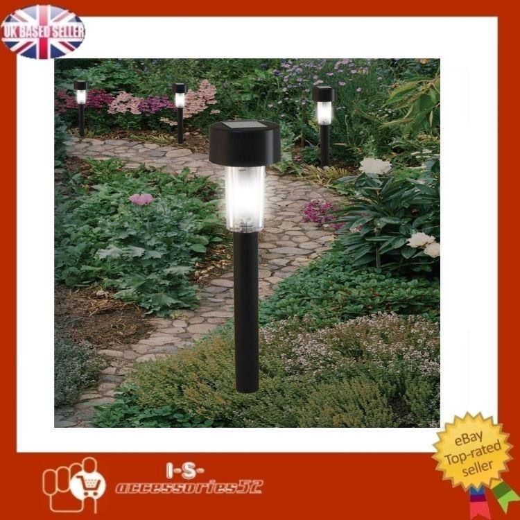 Black Led Solar Powered 5 Ft Traditional Garden Lamp Post: New Black Garden Solar Powered Rechargeable Post Lights