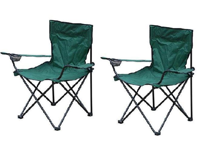 New 2x Green Folding Camping Chair Portable Fishing Beach Outdoor Garden Chai