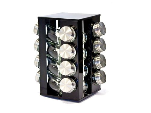 New Stylish Revolving Spice Rack Stand With 16 Glass Jars Lid Black Ruby Silver