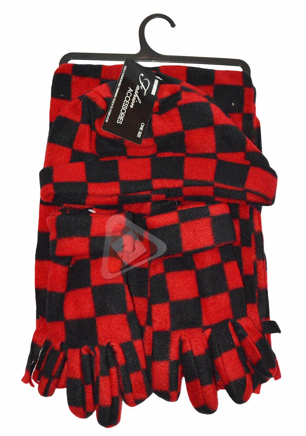 Ladies Soft Check Fleece Hat/Glove/Fringe Hem Scarf Set 4 Colours Thermal Set