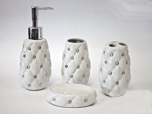 Ceramic Bathroom Accessories Uk 4pc Accessory Set Soap Dispenser Dish