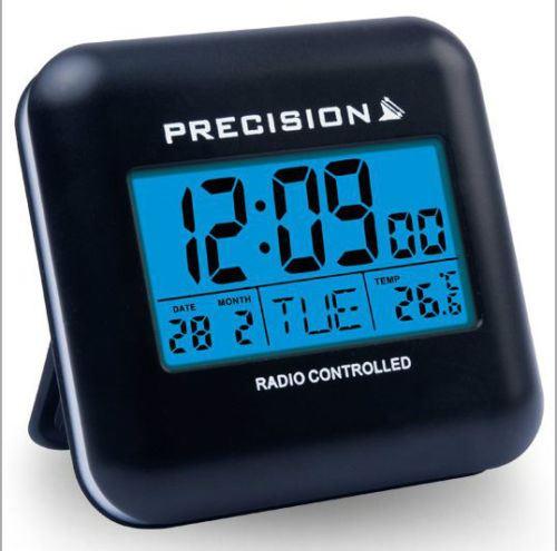 precision radio controlled blue led touch sensitive travel alarm clock prec0034 ebay. Black Bedroom Furniture Sets. Home Design Ideas