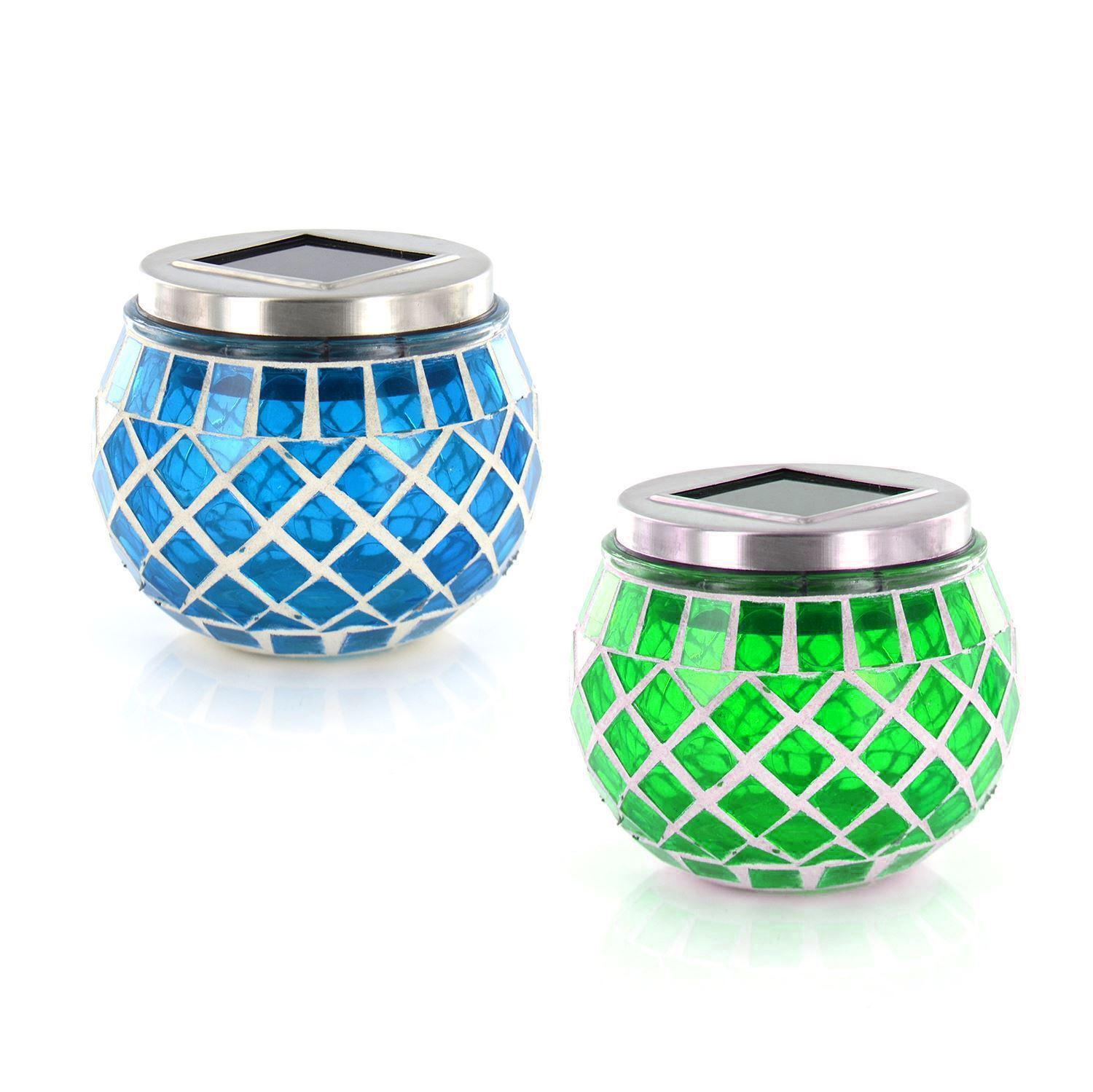 Patio Table Lights Uk: New 4 X Solar Powered Rechargeable Round Garden Patio