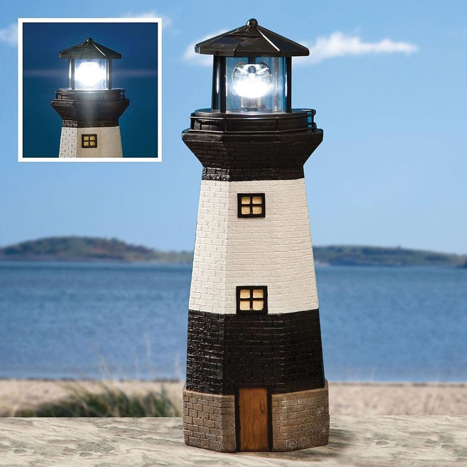 solar powered garden light house lighthouse ornament with. Black Bedroom Furniture Sets. Home Design Ideas