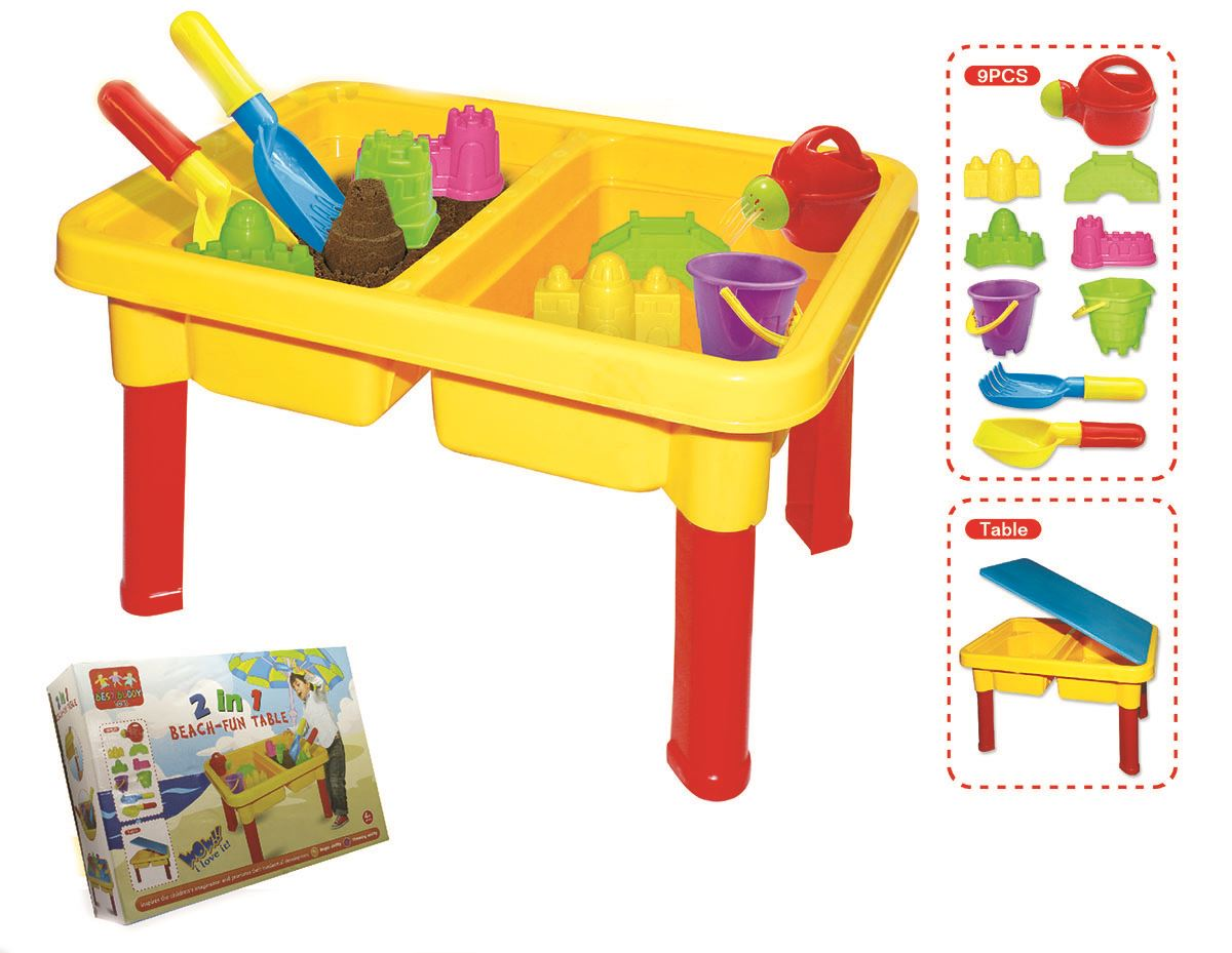 2 in 1 toddler kids children beach sand water fun play table with accessories ebay. Black Bedroom Furniture Sets. Home Design Ideas