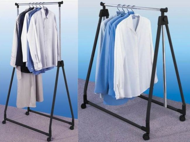 new portable collapsible clothes garment rail adjustable hanging rack ebay. Black Bedroom Furniture Sets. Home Design Ideas