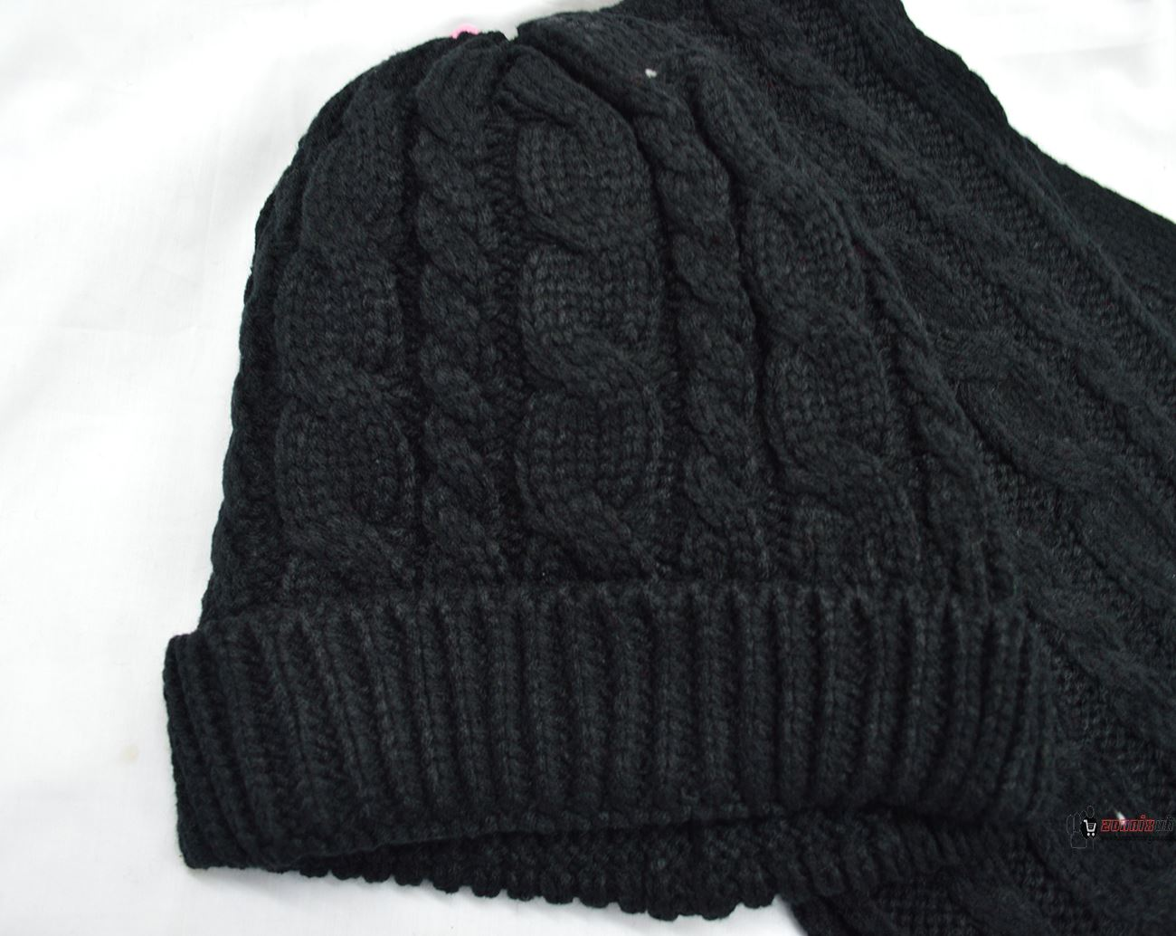 womens woolly thick knit hat and scarf set knitted