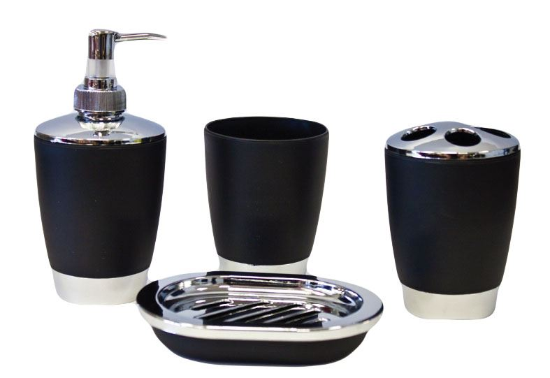 4pc essential set salle de bain porte savon distributeur for Set porte savon