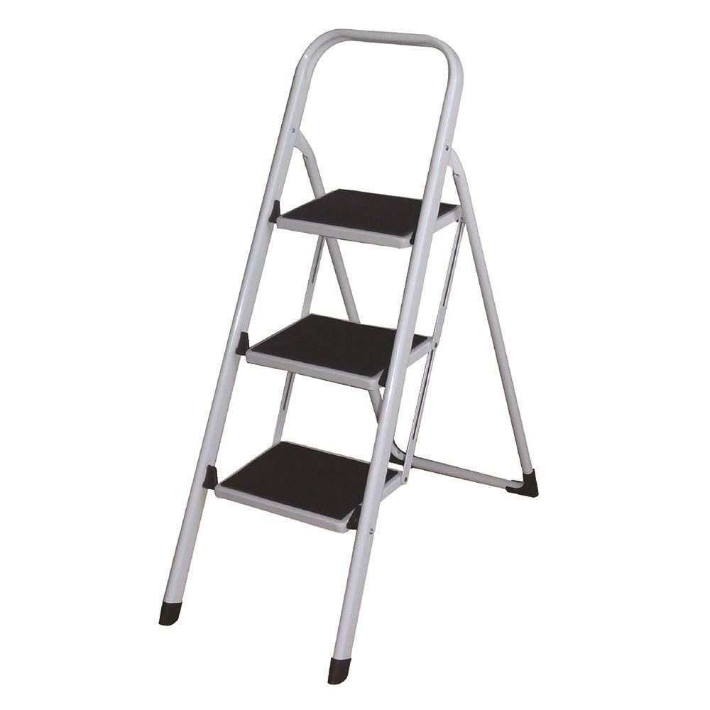 New Foldable 2 Amp 3 Steel Step Ladder Non Slip Plastic Tips