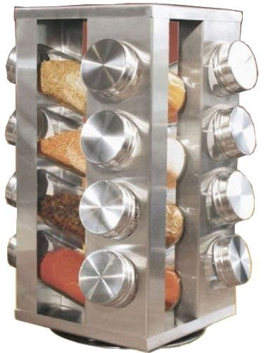 New Stylish Revolving Spice Rack Stand With 16 Glass Jars