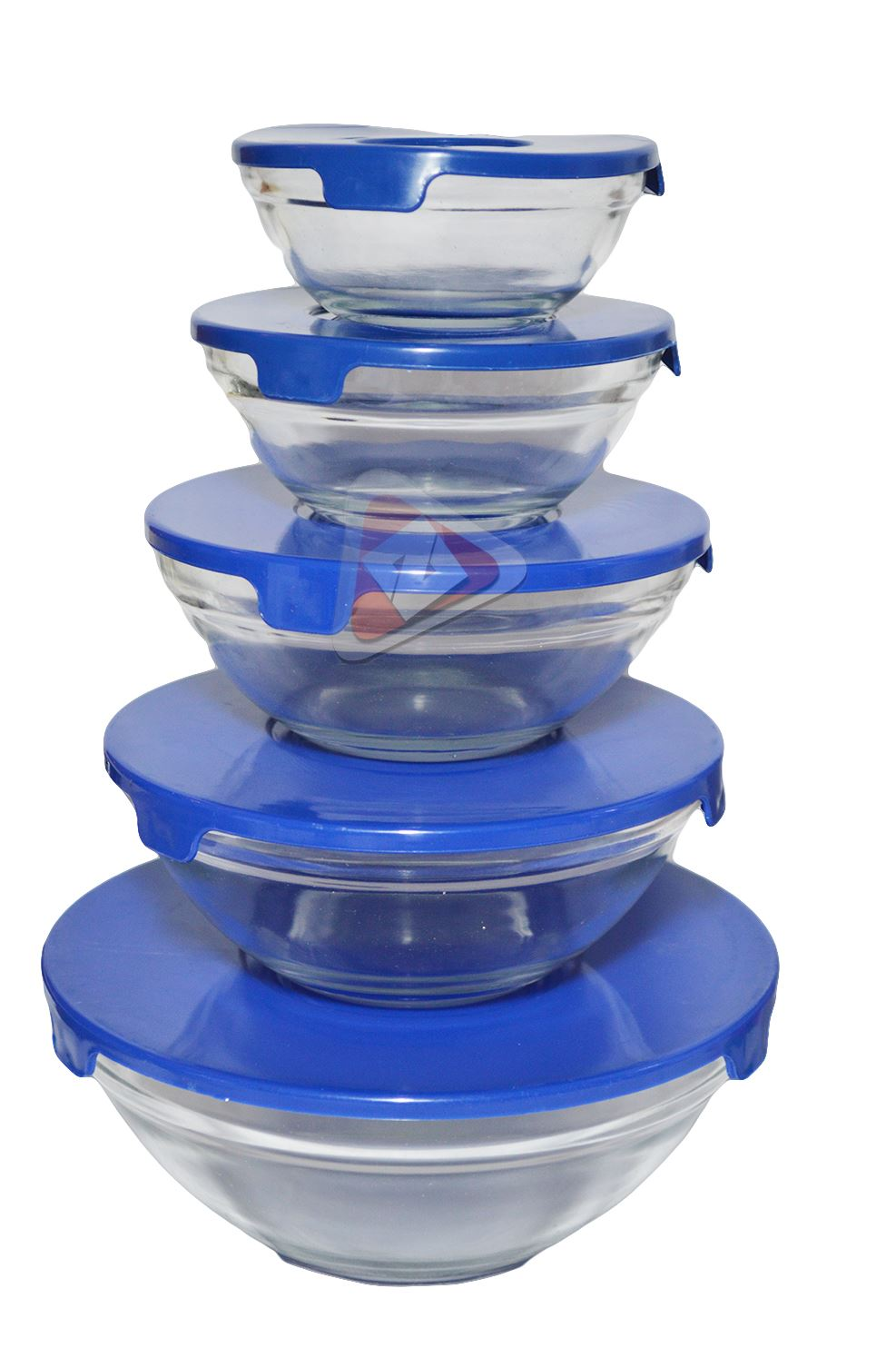 new 5pc round glass nested dipping or storage bowls with airtight lids bnib ebay. Black Bedroom Furniture Sets. Home Design Ideas