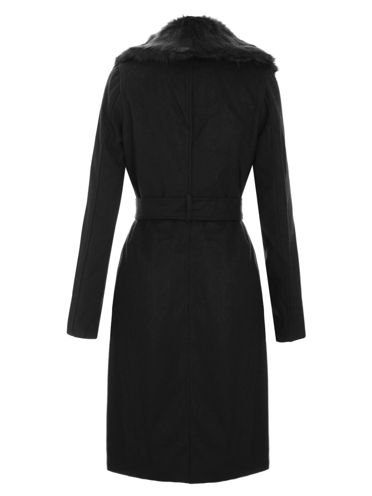 Womens New Ladies Black Fur Collar Jacket Faux Wool Long Belted ...