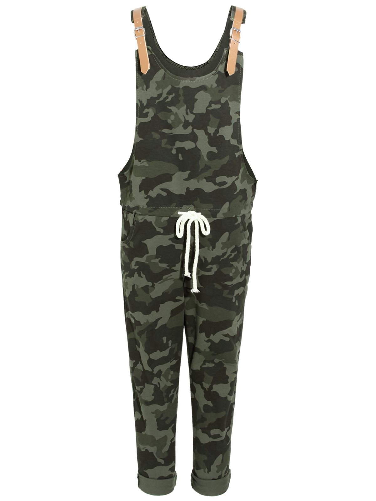 Model Womens Camouflage Jumpsuit Ladies Dungaree Camo Loungewear 34 Pants