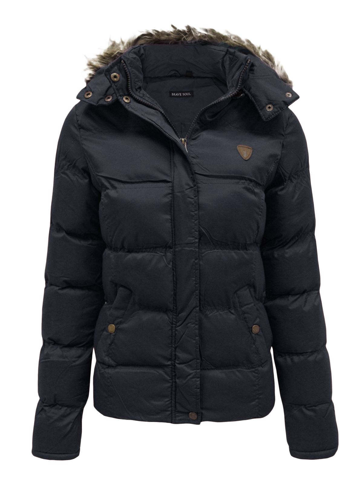 Womens Ladies Quilted Padded Puffer Coat Fur Hooded Warm ...
