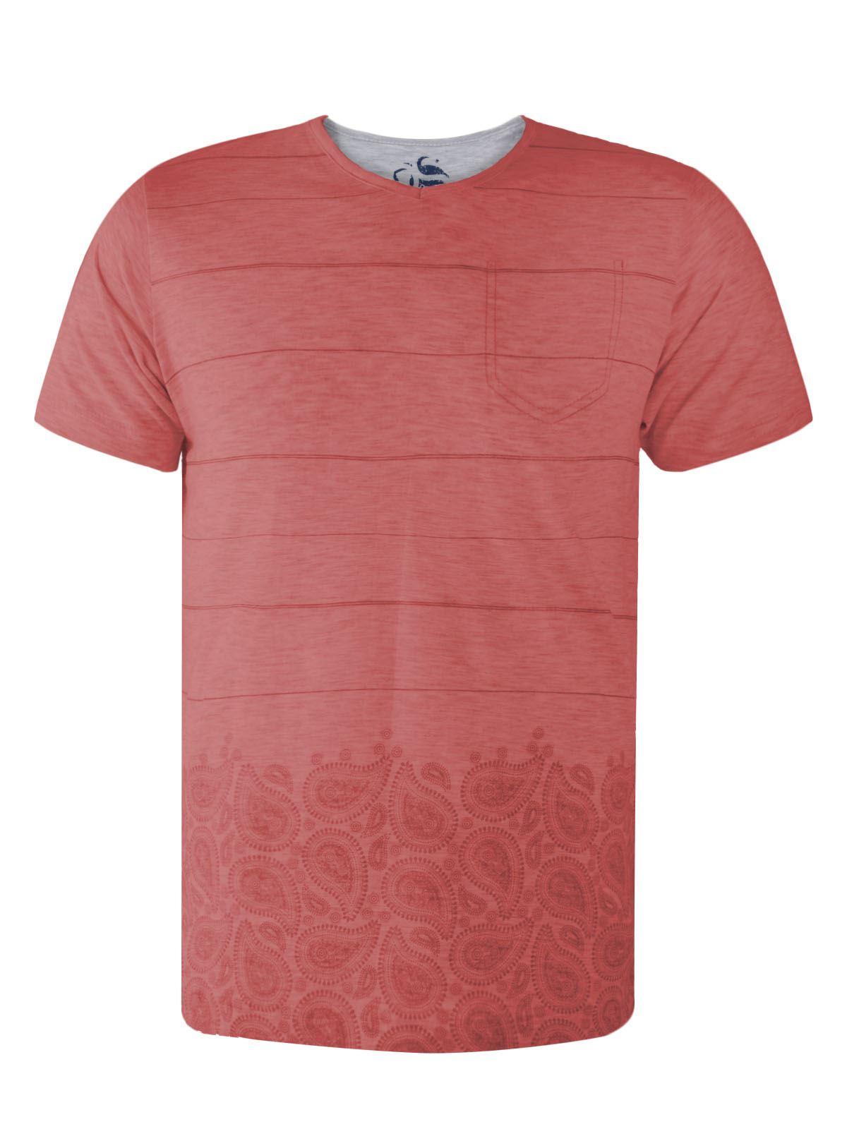 New Mens Fashion Casual Stripe Pocket T Shirt Floral Print