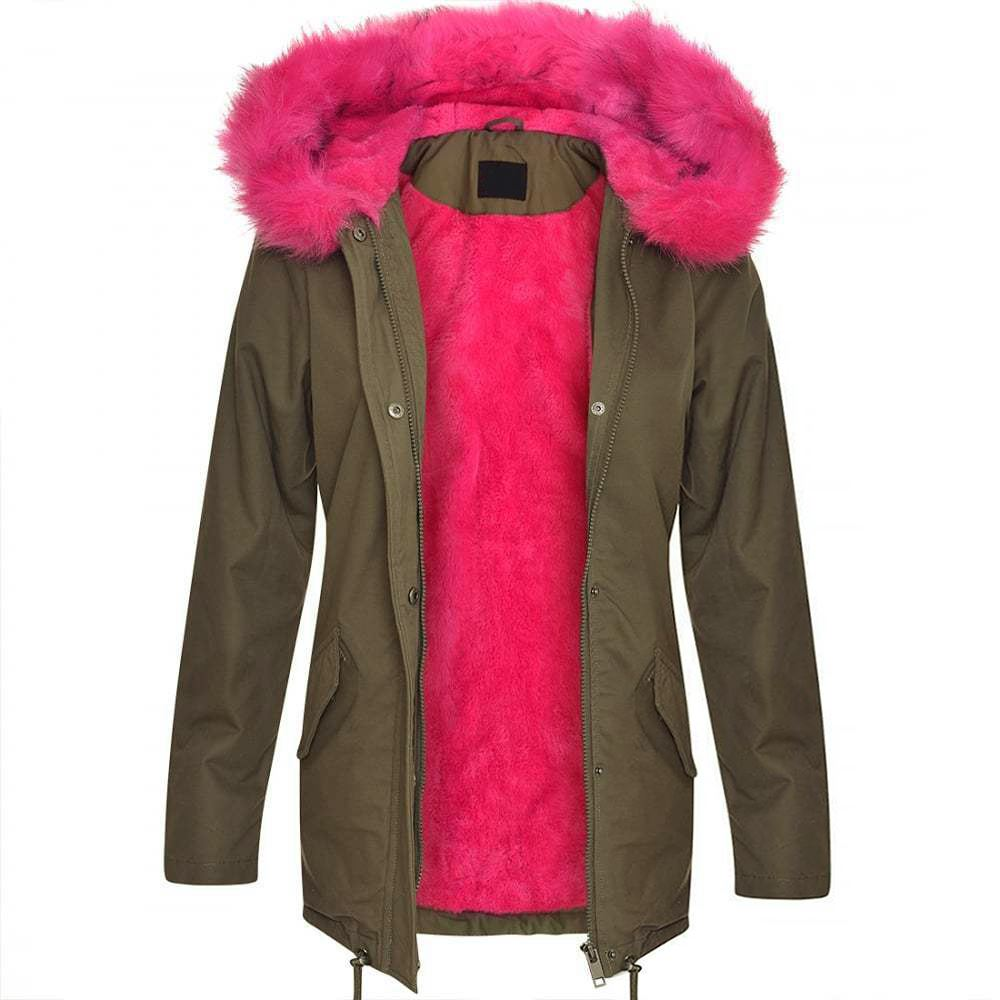 brave soul womens ladies oversized hood coloured blue pink fur jacket coat parka ebay. Black Bedroom Furniture Sets. Home Design Ideas