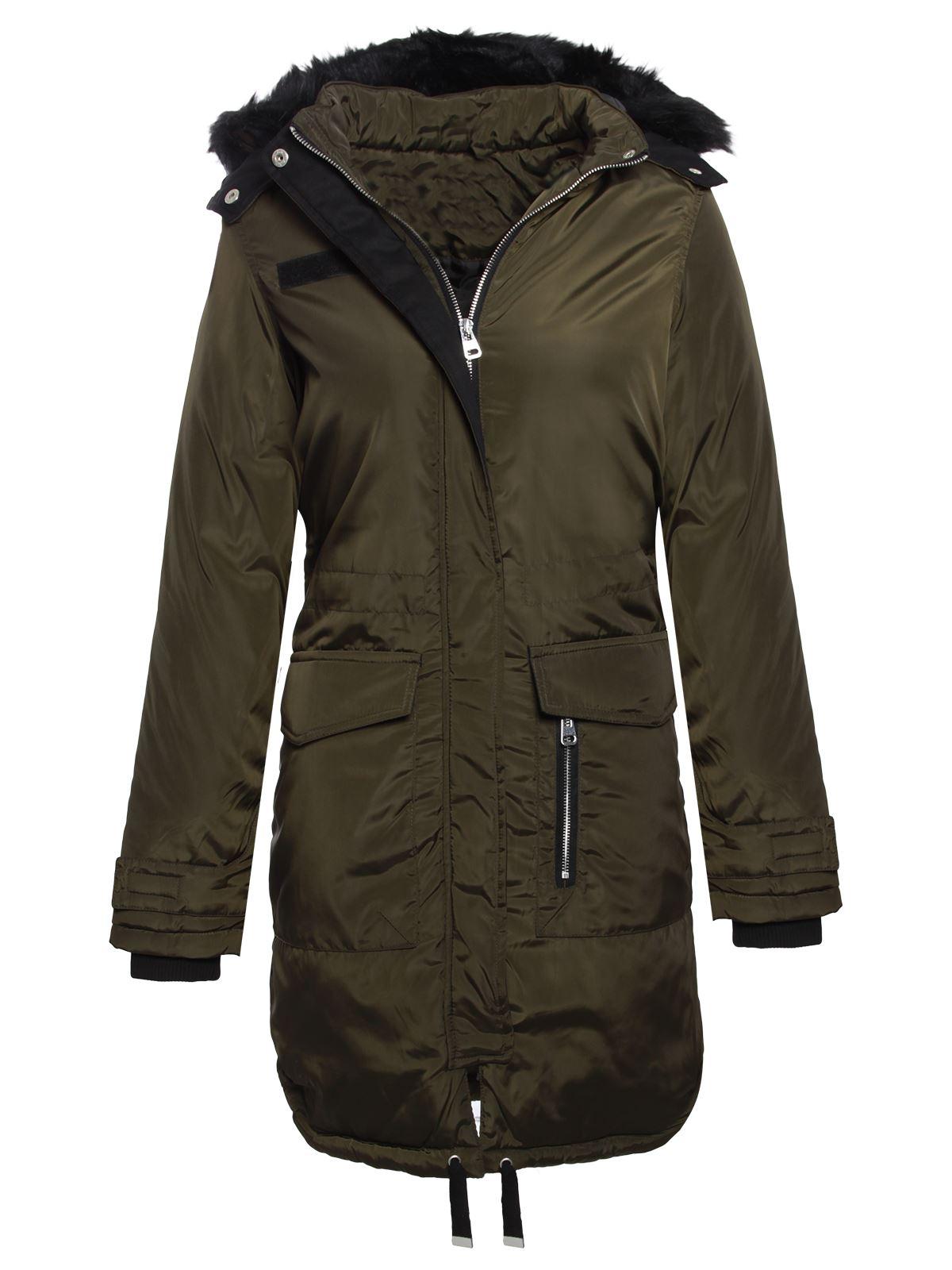 Brave Soul Womens Ladies Fur Hooded Fishtail Parka Longline Jacket Coat - Brave Soul Womens Ladies Fur Hooded Fishtail Parka Longline Jacket