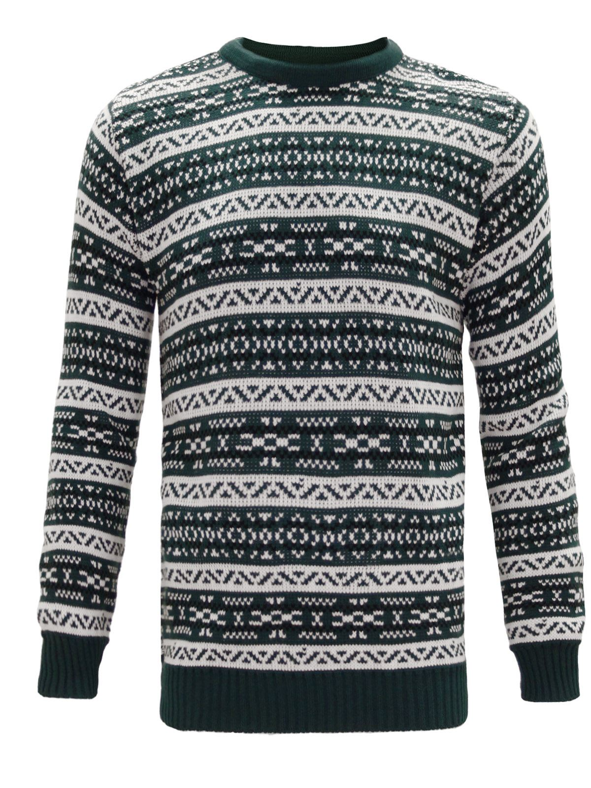New Mens Knitted Classic Christmas Xmas Sweater Vintage Retro Nordic Jumper S...