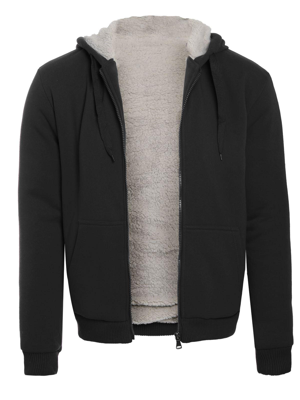 Mens Fleece Fur Bomber Hooded Coat Zip Up Jacket Hoodie Sweatshirt