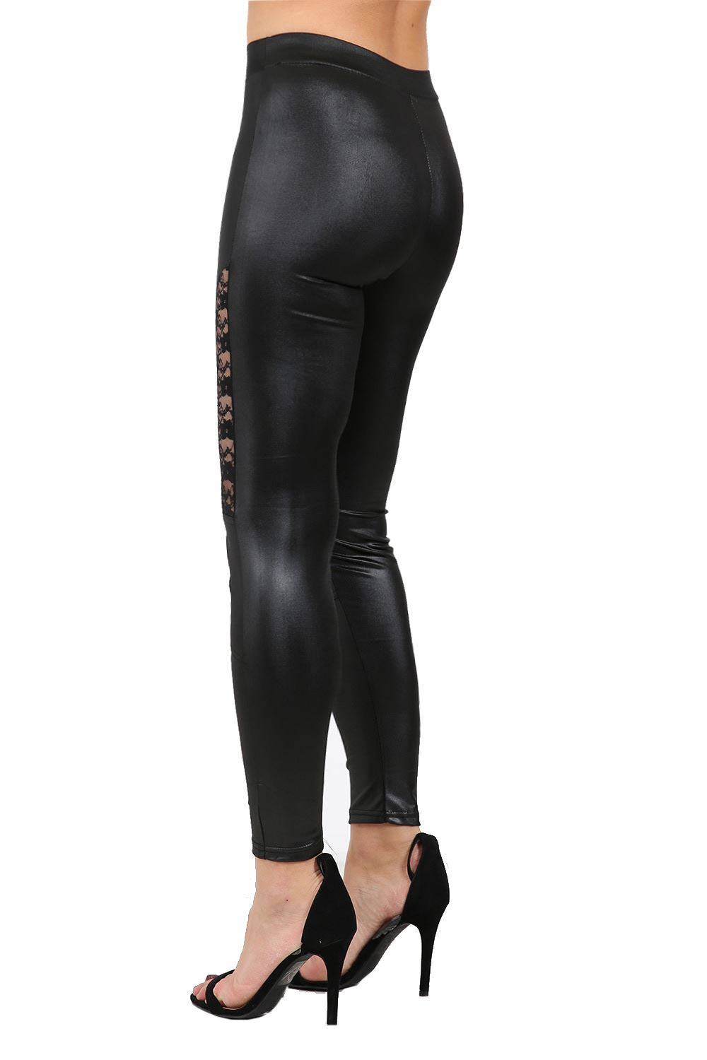 Awesome Women Plus Size Black Leggings Footless Pants Long Faux Leather Design | EBay