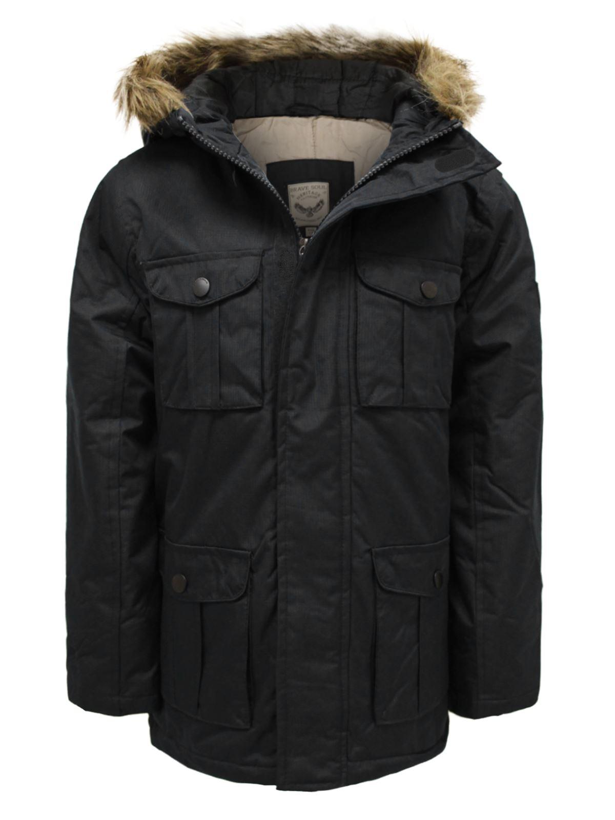 Boys Kids Back To School Parka Fur Hooded Padded Winter