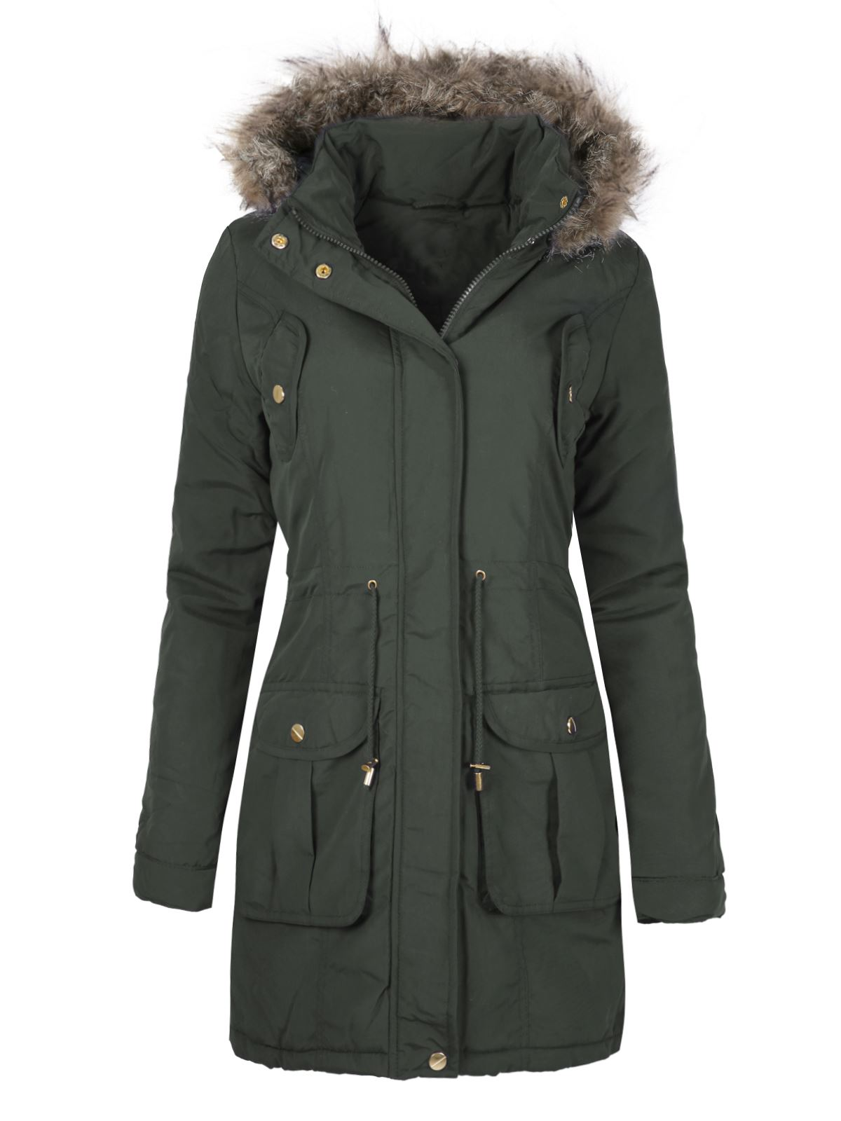 Womens Ladies Faux Fur Hooded Quilted Winter Parka Jacket ...
