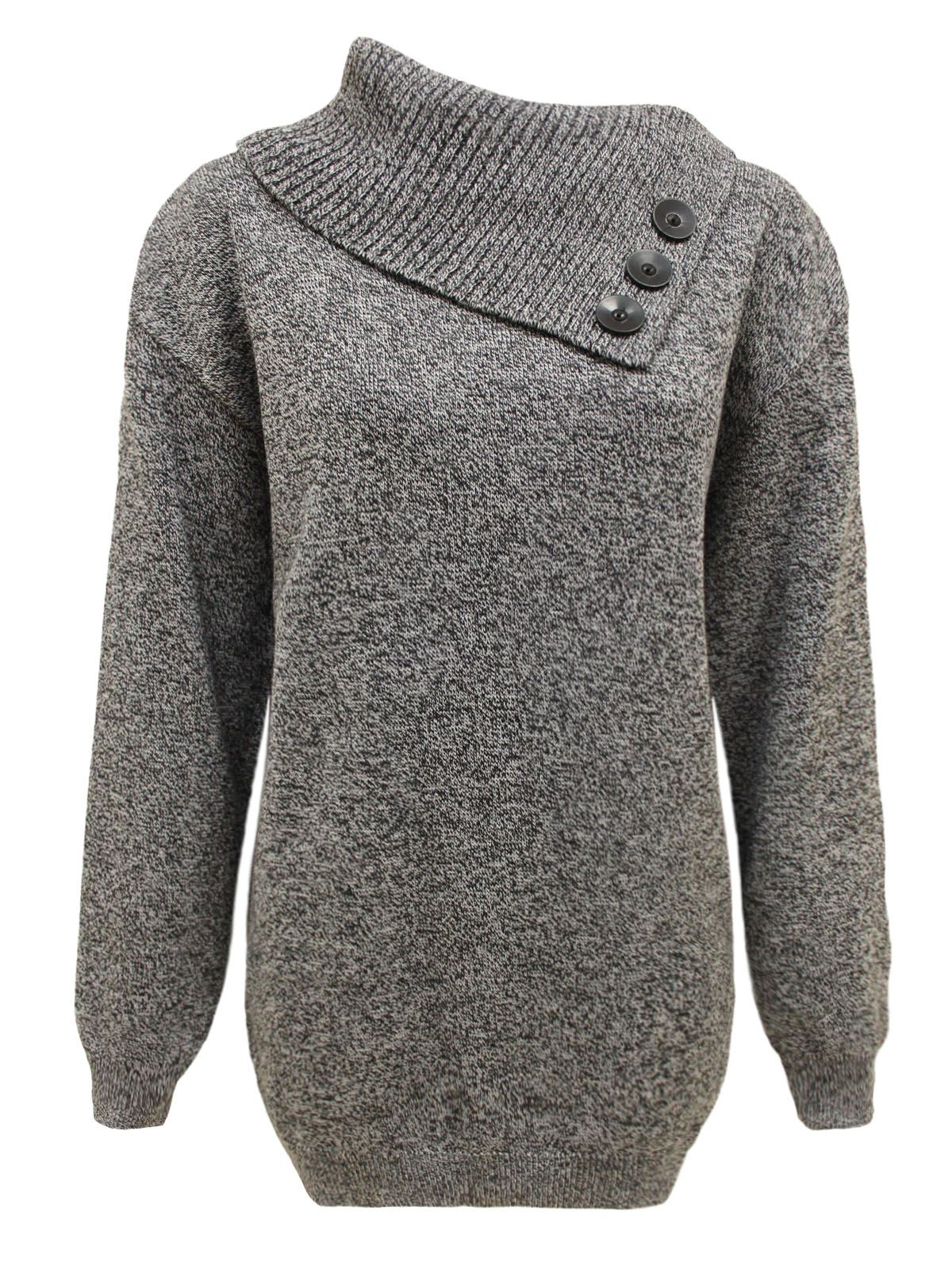 Womens Ladies Knitted Jumper 3 Buttons Polo Neck Pullover ...
