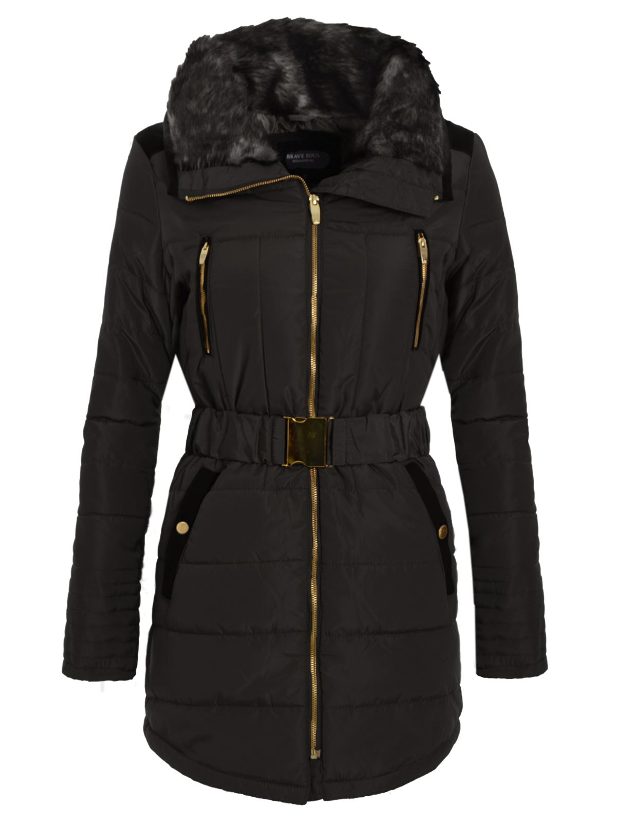 New Womens Ladies Puffer Belted Coat Long Quilted Fur