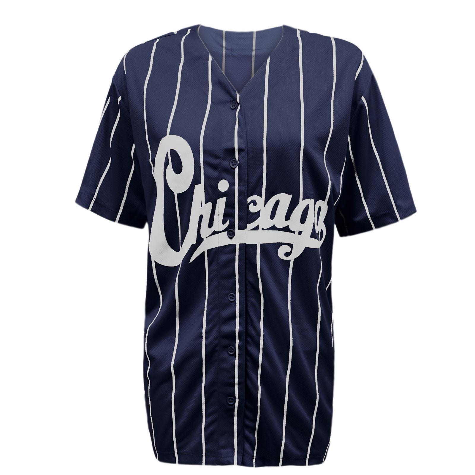 femme varsity bandes chicago am ricain baseball jersey top t shirt ebay. Black Bedroom Furniture Sets. Home Design Ideas