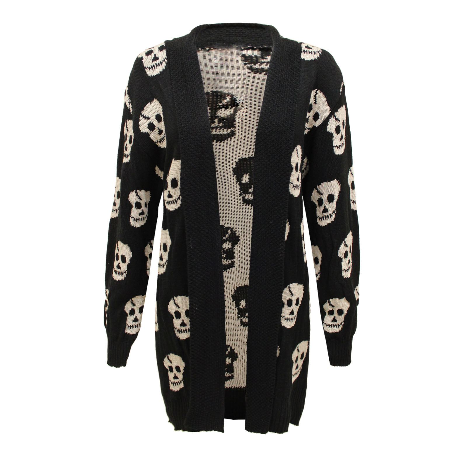 new womens long sleeve skull print open cardigan knitted. Black Bedroom Furniture Sets. Home Design Ideas