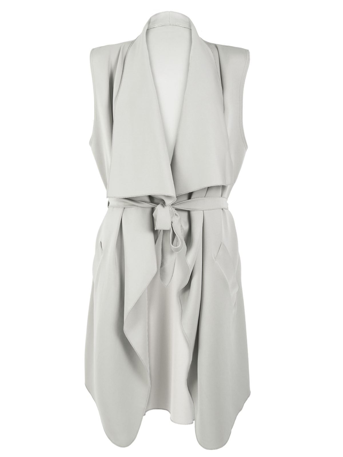 Ladies Coat Celeb Coatigan Belted Wrap Over Waterfall Sleeveless ...