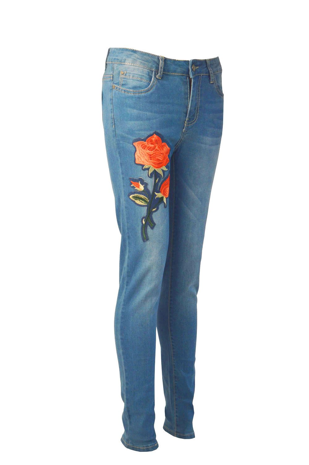 Womens ladies roses embroidered denim skinny fit stretch