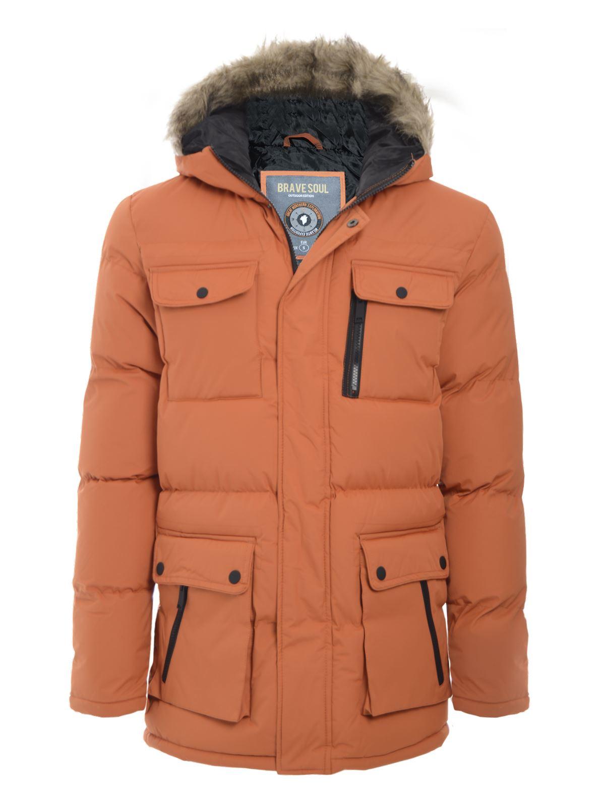 brave soul mens quilted parka jacket fur hooded winter. Black Bedroom Furniture Sets. Home Design Ideas