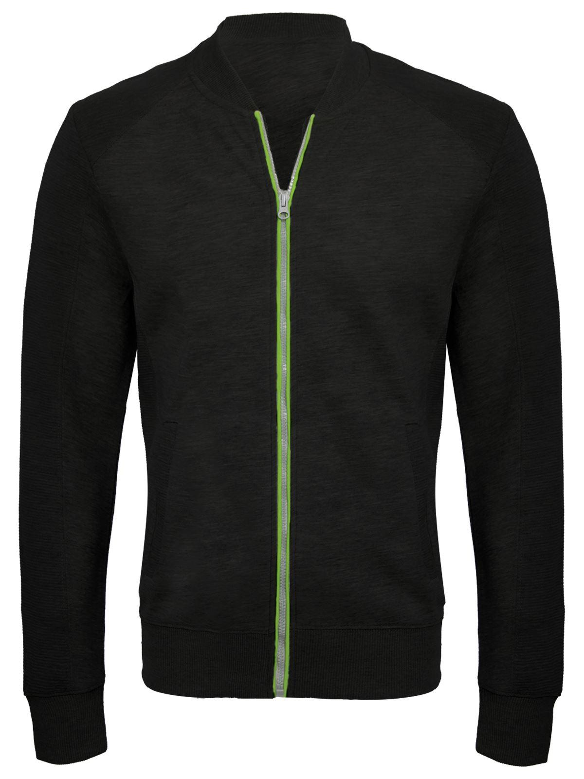 Mens Fleece Baseball Zip Up Jacket Sweatshirt Top Gym Training ...