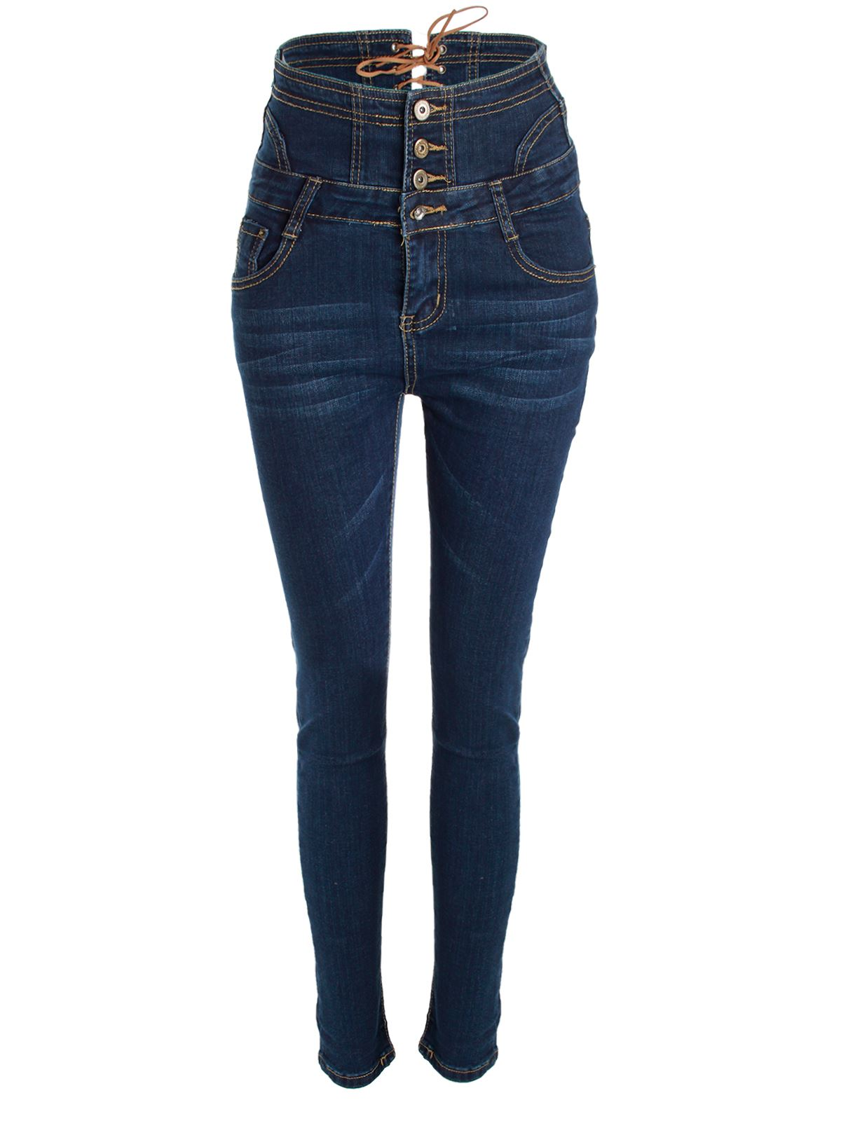 new womens ladies skinny high waisted lace back jeans denim button trouser pants ebay. Black Bedroom Furniture Sets. Home Design Ideas