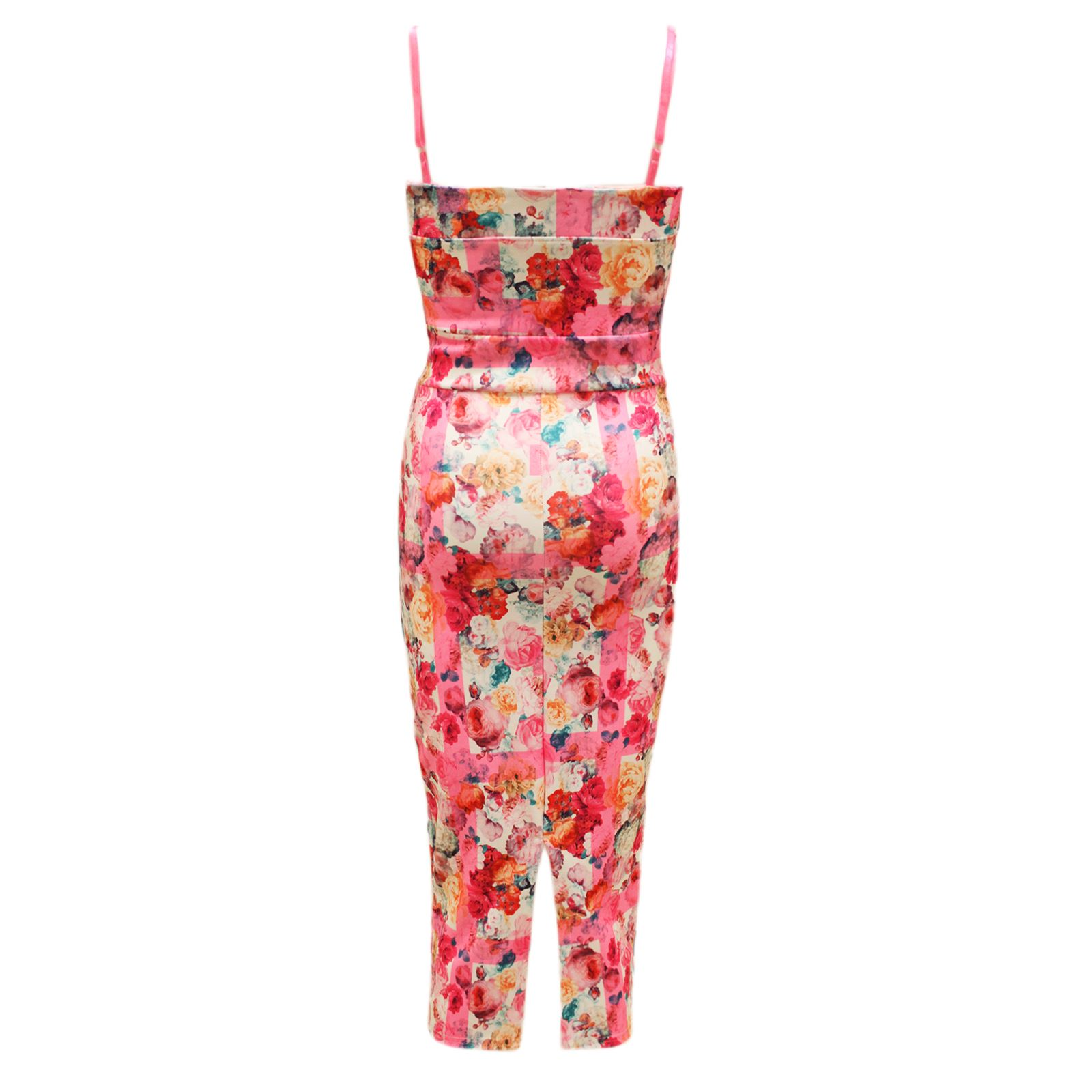 New-Womens-Celeb-Style-Strappy-Tropical-Floral-Print-Bodycon-Party-Midi-Dress