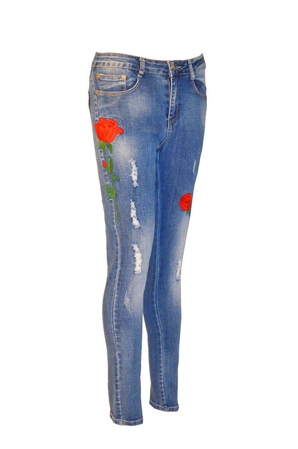 Womens ladies multi rose embroidered ripped denim skinny