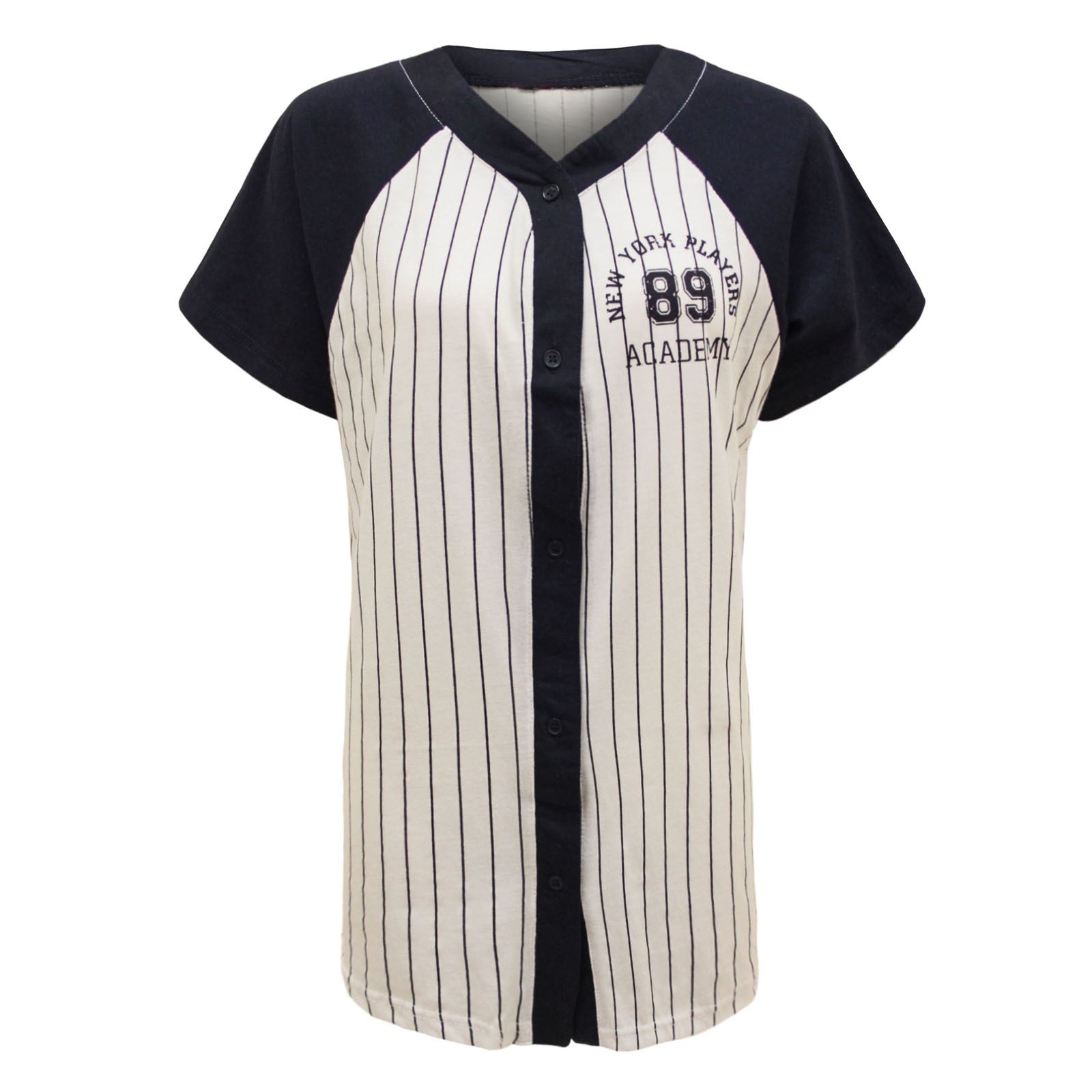 new ladies womens varsity american baseball stripes new york jersey top t shirt ebay. Black Bedroom Furniture Sets. Home Design Ideas