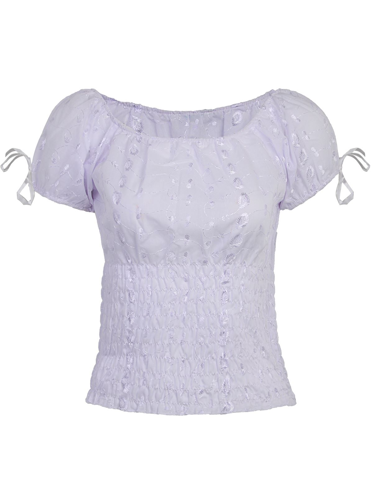 Ladies womens white gypsy top floral embroidered blouse