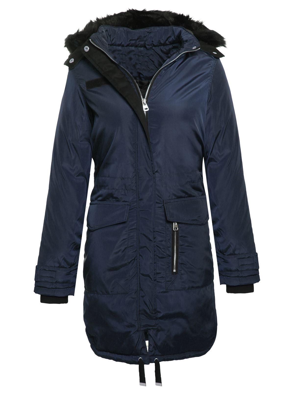 Brave Soul Womens Ladies Fur Hooded Fishtail Parka Longline Jacket ...