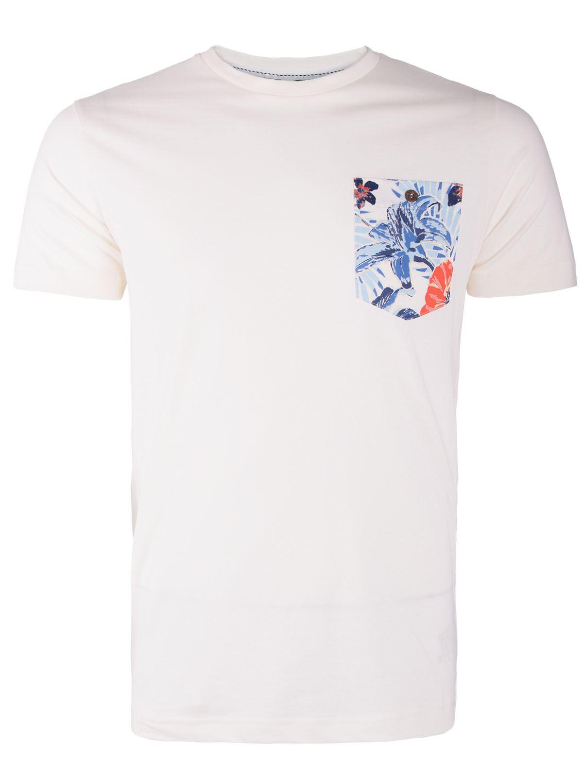 Mens Floral Print Top Cotton Crew Neck Casual Summer Short