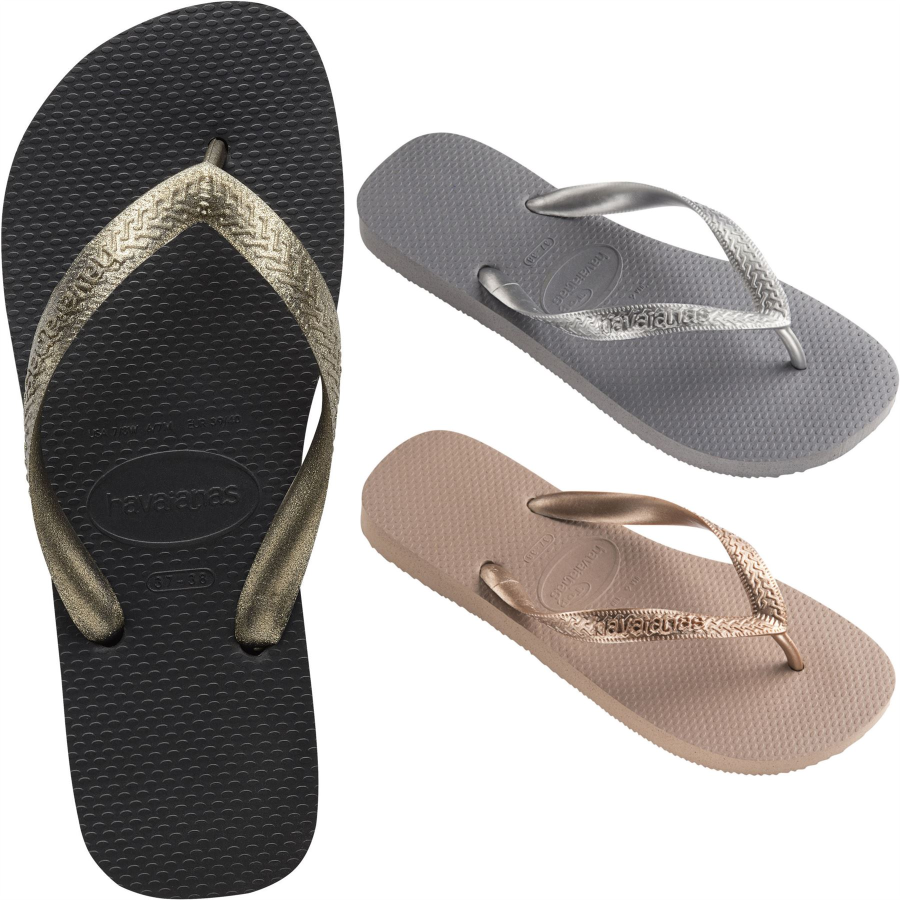 Havaianas Womens Top Tiras Flip Flops Black Pink Grey