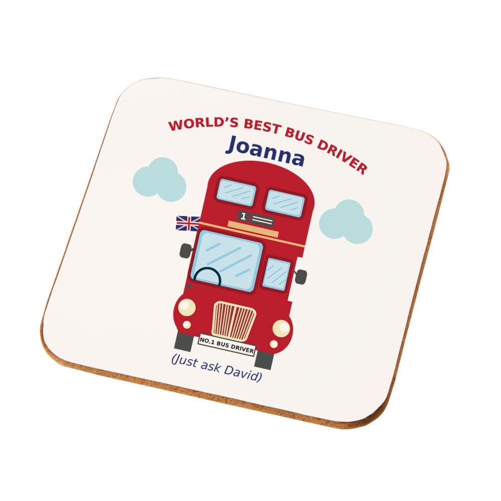 Personalised Best Bus Driver Drinks Coaster New Job Work