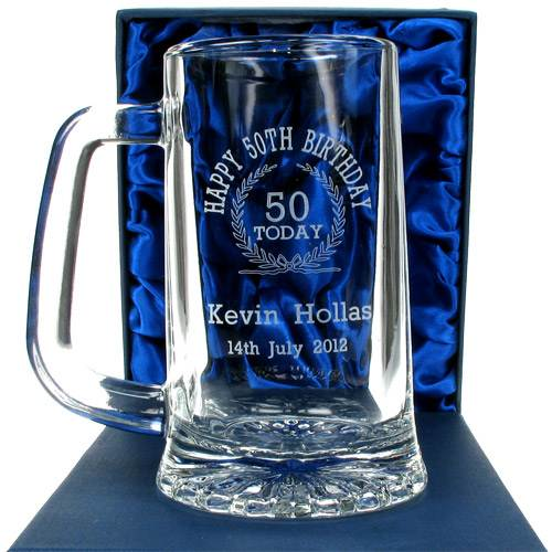 Personalised Gift Ideas 50th Birthday Engraved Glass Beer Tankard for ...