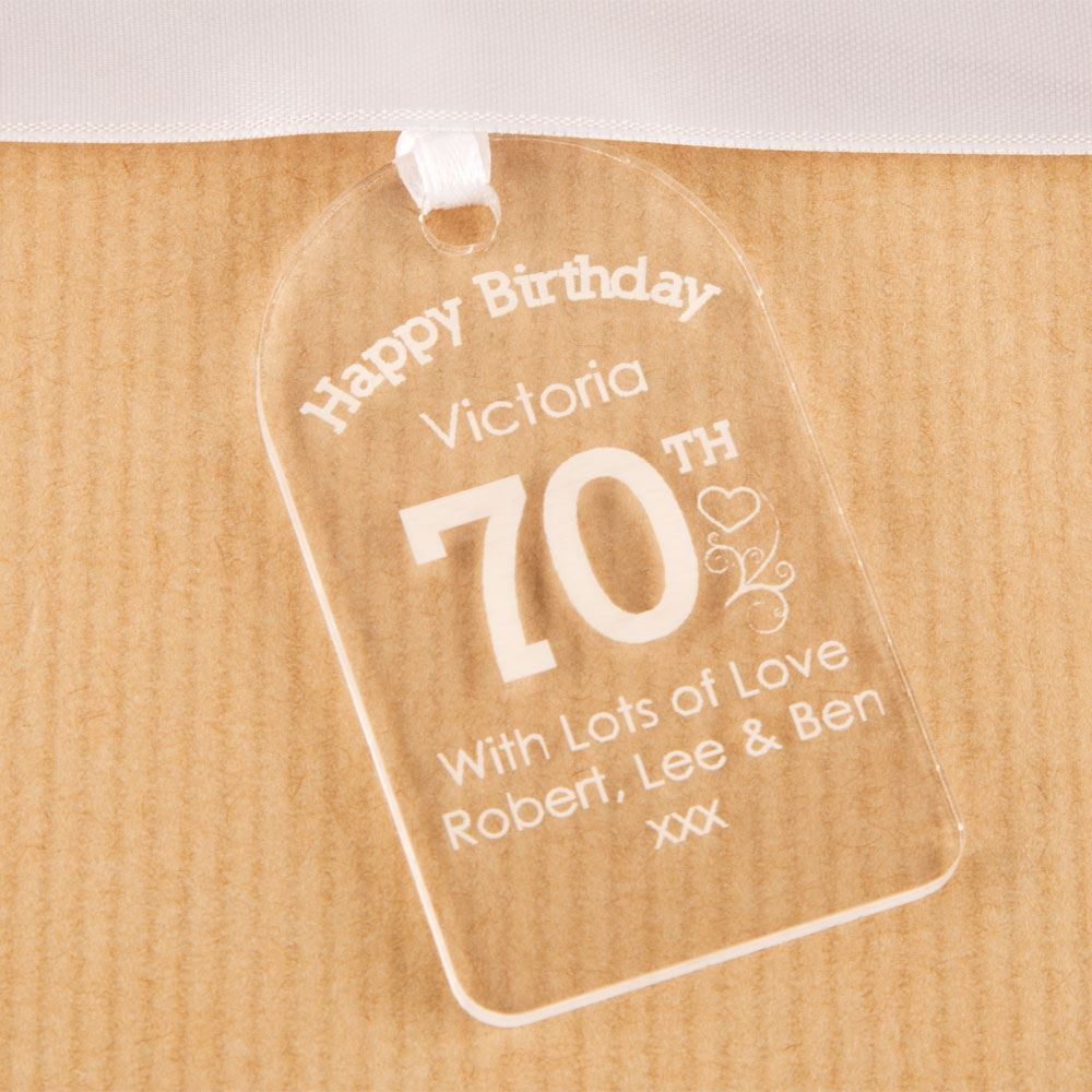 Personalised 70th Birthday Bottle Tag, Acrylic Gift Tag