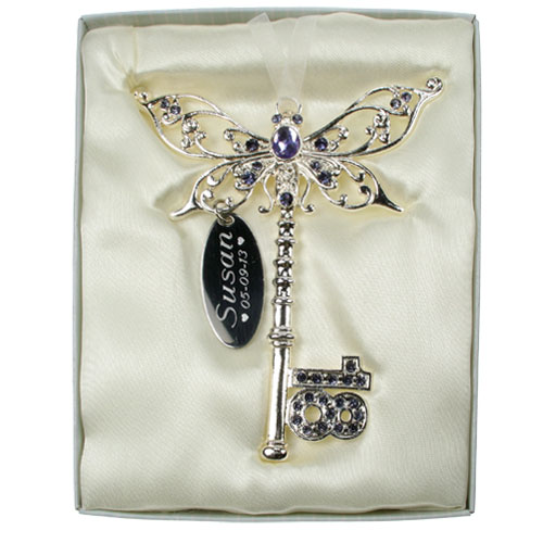 Engraved 18th Birthday Lilac Key 18th Birthday Gift For A