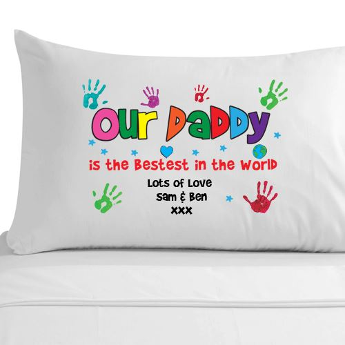 Personalised fathers day gift for daddy dad luxury pillowcase 100% cotton