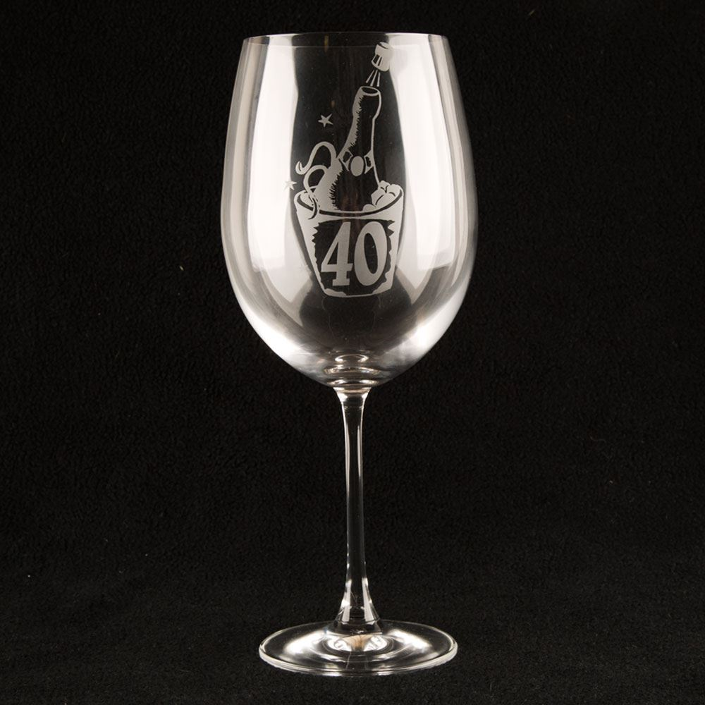 Personalised 40th Birthday Novelty Large Wine Glass Quirky